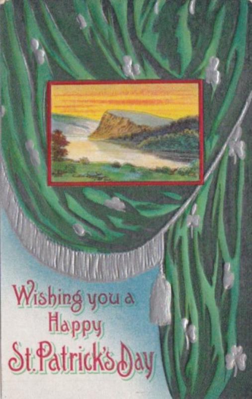 Saint Patrick's Day With Shamrock & Landscape Scene