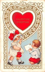 Whitney Made Valentines Day postal used unknown paper chip left bottom corner...