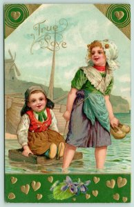 Valentine~Dutch Girl Pulls Brother on Raft in Water~Hunter Green & Gold~Embossed