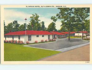 Unused Linen EL RANCHO MOTEL Durham North Carolina NC M6036-12