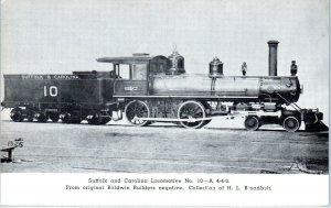 SUFFOLK & CAROLINA RAILWAY Locomotive #10-A 4-4-0  Etchtone 1958 Postcard