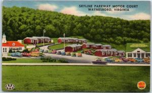 Waynesboro, Virginia Postcard SKYLINE PARKWAY MOTOR COURT Roadside Linen 1950s
