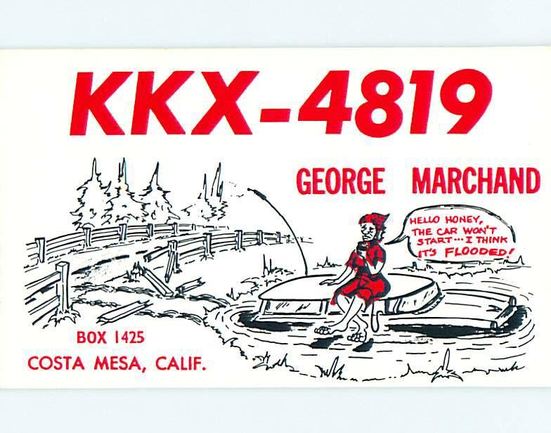 comic - QSL CB HAM RADIO CARD Costa Mesa California CA t9576