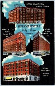 1940s Missouri  / Kansas Adv. Postcard HUTSON HOTELS Wichita KC Lawrence Linen