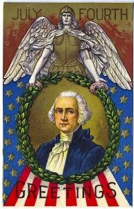 4th of July George Washington Armoured Angel Wreath Flag Postcard