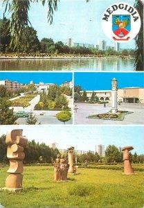 Postcard Romania Medgidia multi view parc monument statuie
