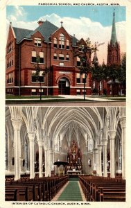 Minnesota Austin Parochial School & Church and Interior Of Catholic Church 1918