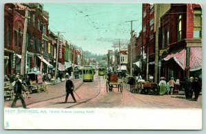 Hot Springs Arkansas~Central Avenue Shoppers~Trolley Traffic~Wagons~1909 TUCK