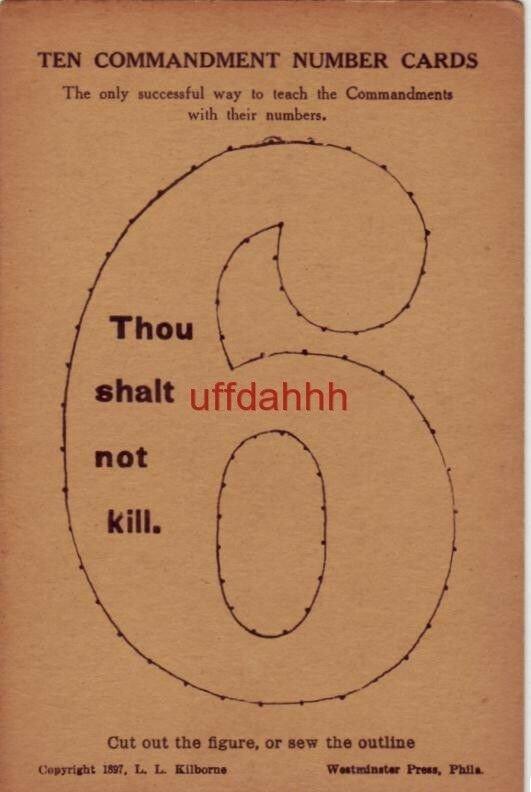 TEN COMMANDMENT NUMBER CARDS 6 copyright 1897 Kilborne Cut out or sew outline