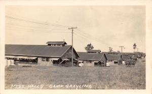 Camp Grayling Michigan~Army Nat'l Guard Mess Halls~Awnings~Soldiers~1922 RPPC