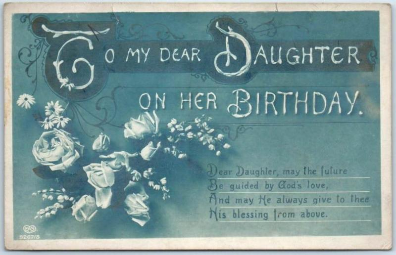 Vintage HAPPY BIRTHDAY Postcard To My Dear DAUGHTER On Her C1910s