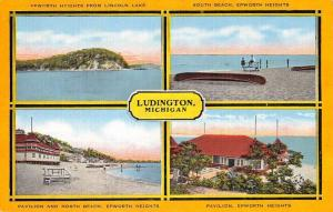 Ludington Michigan Epworth Heights Multiview Antique Postcard K84358