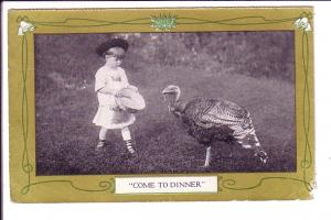 Child Feeding Turkey, Come to Dinner, Montreal Standard's Christmas Greeting ...