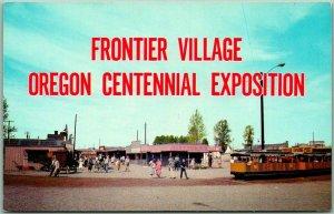 1959 OREGON CENTENNIAL EXPOSITION Postcard PIONEER VILLAGE Tram View Unused
