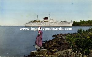 martinique, FORT-DE-FRANCE, French Line Steamer Antiles leaves Harbour (1960s)