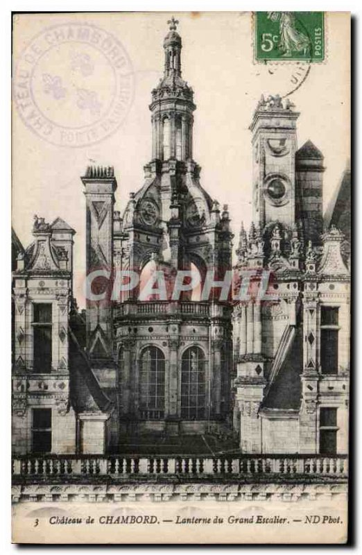 Old Postcard Chateau de Chambord Lantern Grand Staircase
