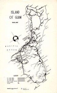 Island of Guam Map  Real Photo Vintage Postcard AA37862