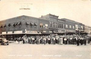 G32/ Fairbury Nebraska RPPC Postcard c40s Crowd  Square Toastmaster Bread Ad