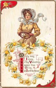 E36/ Valentine's Day Love Holiday Postcard 1910 Woman Driving FLowers 17