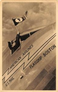 Airplane~American Airlines Flagship Boston~US Mail~Pilot Waves AA Flag~c1939 PC