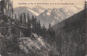 Washington~Wood Log Snow Sheds~Great Northern Railroad Line~Cascade Mts~1908 B&W
