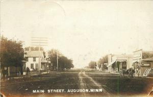 1907 Audubon Becker Minnesota Main Street View Hotel Hardware RPPC Real Photo