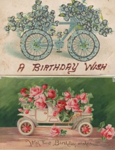 Bicycle Real Sparkle Glitter Antique 2x Transport Postcard s