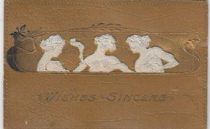 Art Nouveau Women , Wishes Sincere , 1912