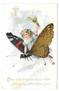Fantasy Girl Riding Butterfly Tuck Birthday Series Postcard