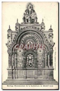 Old Postcard Monumental Clock Of The Cathedral Of Beauvais