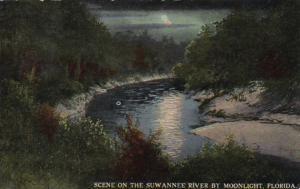 Florida Scene On The Suwannee River By Moonlight 1912