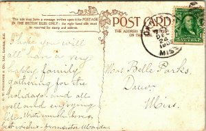 Vtg Carte Postale 1907 Faulkner & Co. Best Souhaits Impressionniste Sunset'