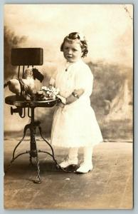 RPPC Adopted Maud Kelly Cannon on Her 3rd Birthday~Homemade Stuffed Animal~1913