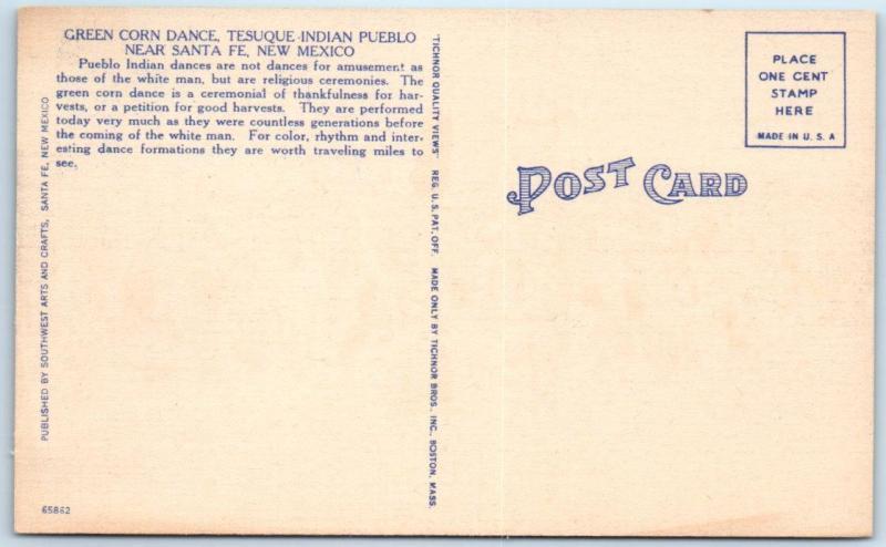 TESUQUE INDIAN PUEBLO near Santa Fe, NM   GREEN CORN DANCE  c1940s  Postcard