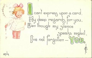 I Can't Express Upon A Card Vintage Greeting Postcard Standard View Card ©FJM