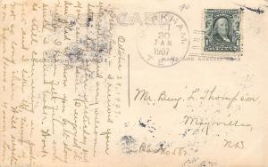 Markham Texas Postmark~Farmers With Hay Wagon~Sacks~Thresher~1907 RPPC