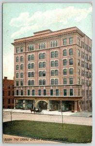 Macon GA~Close Facade: Grand Opera House~Horse & Buggy~Mulberry Blvd Medium~1908