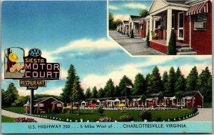 Charlottesville, Virginia Postcard SIESTA MOTOR COURT Highway 250 Roadside 1950s