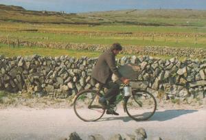 Inishmore Irish Cyclist on Aran Islands Bicycle Vintage Real Ireland Postcard
