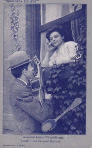 Spooners Delight, Man serenading with guitar a woman at window, Poem, 1900-10s
