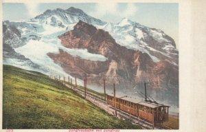 SWITZERLAND, 1900-10s; Jungfraubahn mit Jungfrau, Railroad with Train
