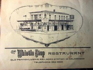 The Whistle Stop Restaurant Menu Kalamazoo Michigan 1963 1980 Railroad Train