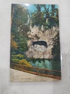 Antique Postcard entitled Luzern, Lowendenkmal.