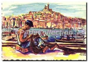 Modern Postcard Marseille Remeshing The Nets On The Old Port illustrator Geor...