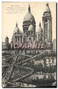 Postcard Old Paris The Sacre Coeur Basilica with the Monumental Staircase