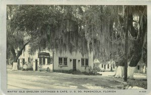 Clear View Watts Old English Cottages Cafe Pensacola Florida Postcard 11108