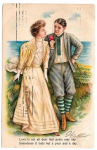 Romance Edwardian Couple Man Woman Love is not all dear