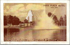 ST. LOUIS, Missouri Postcard  PARK PLAZA HOTEL Lake / Fountain View 1947 Cancel