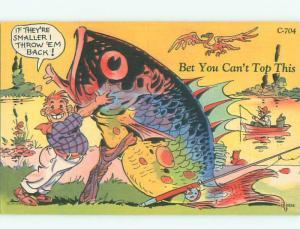 Linen Comic fishing exaggeration FISHERMAN CATCHES HUGE FISH AC0083