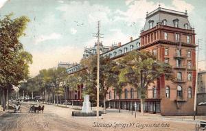 Saratoga Springs New York~Street Scene~Congress Hall Hotel~1907 Postcard